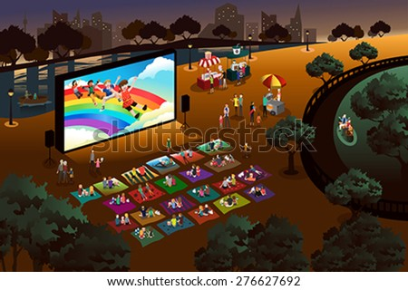 A vector illustration of people watching outdoor movie in a park - stock vector