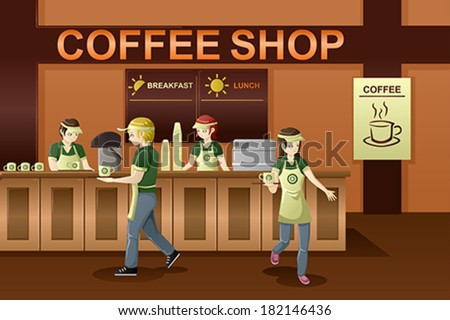 A vector illustration of people working in a coffee shop - stock vector