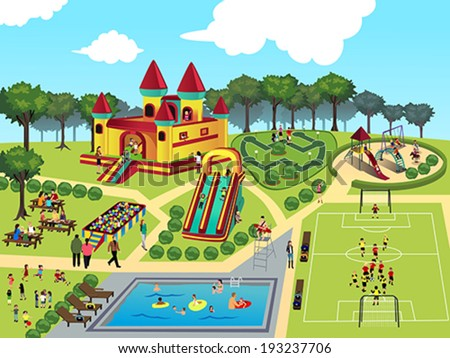 A vector illustration of playground map - stock vector