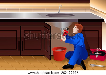 A vector illustration of plumber fixing a leaky faucet - stock vector