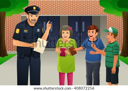 A vector illustration of policeman talking to kids - stock vector