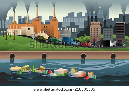 A vector illustration of pollution in the city for pollution concept - stock vector