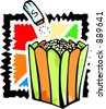 A vector illustration of popcorns with saltern. - stock photo