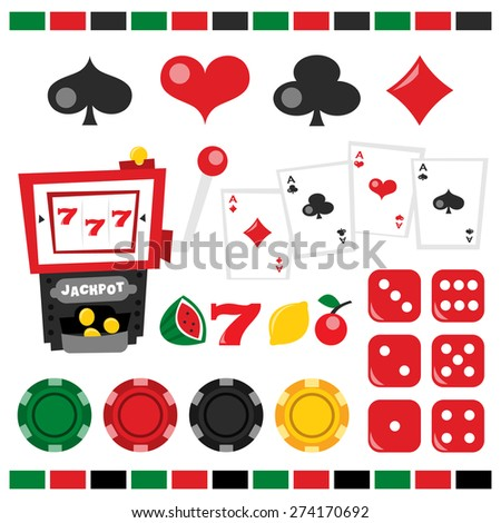 A vector illustration of retro casino night theme design elements. Included in this set:- casino chips, dice, jackpot icons, jackpot, playing card, spade, heart, club, diamond.