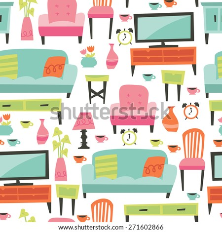 A vector illustration of retro inspired home living furniture theme seamless pattern background.  - stock vector
