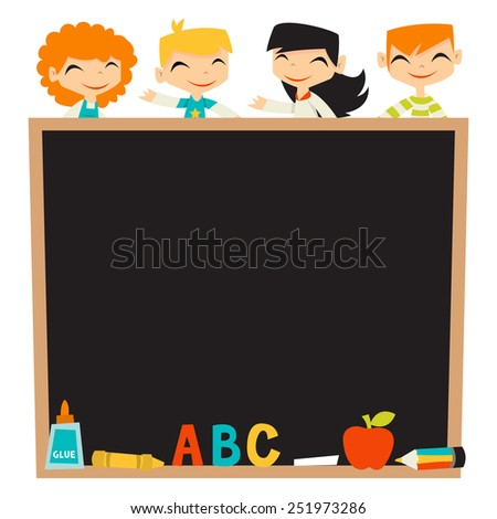 A vector illustration of retro kids back to school theme blackboard background copy space. The bottom of blackboard is filled with school stationery like pencil, glue, crayons, chalk and more. - stock vector