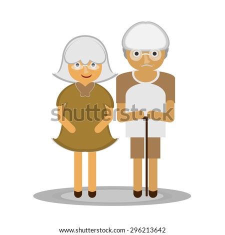 A vector illustration of rich in old age, money and happiness in later life, a good life partner their retirement.  - stock vector
