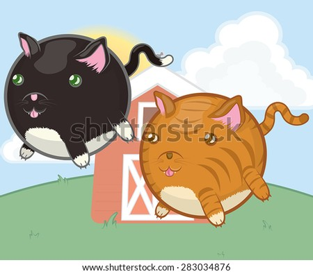 A vector illustration of round, stubby-legged cat characters.  Includes a black and white cat and an orange and off-white tabby. - stock vector