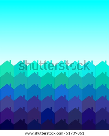 A vector illustration of rows of houses with space for text. Shades of blue and green. Tessellation style. - stock vector