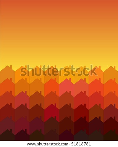 A vector illustration of rows of houses with space for text. Warm shades suggesting sunrise/sunset. Tessellation style. - stock vector