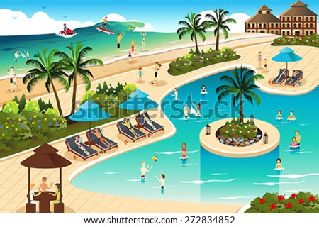 A vector illustration of scene in a tropical resort - stock vector