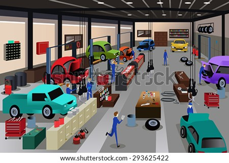 A vector illustration of scenes in an auto repair shop - stock vector