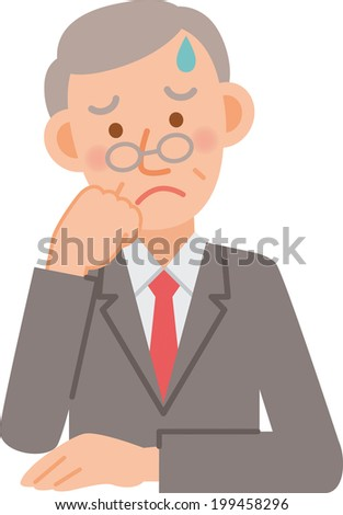 A vector illustration of senior office worker posing - stock vector