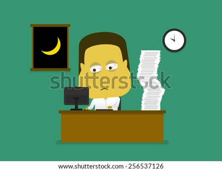 A vector illustration of sleepy employee working late at night in the office - stock vector