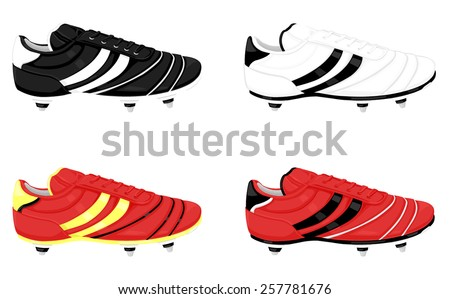 A vector illustration of soccer boots with studs for grip. Soccer boots. Football boots.