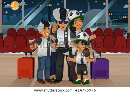A vector illustration of soccer fans traveling in the airport