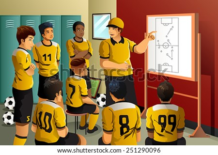 A vector illustration of soccer players in locker room listening to coach talking - stock vector