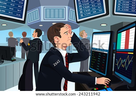 A vector illustration of stock trader in stress looking at the computer - stock vector