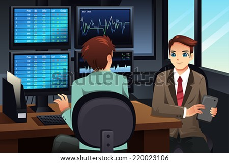 A vector illustration of stock trader looking at the stock market monitors - stock vector