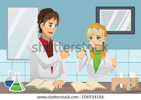 A vector illustration of students experimenting in chemistry lab - stock vector