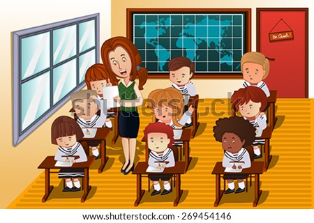 A vector illustration of students taking an exam in class - stock vector