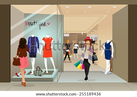 A vector illustration of stylish woman shopping in a mall - stock vector