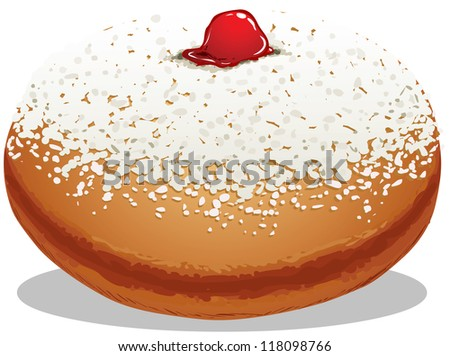 A Vector illustration of Sufganiyah which is a Donut for the Jewish Holiday Hanukkah. - stock vector