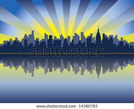 A vector illustration of sunrise over Manhattan from the Hudson River. - stock vector
