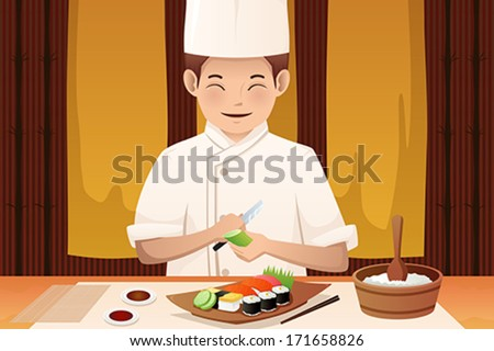 A vector illustration of sushi chef working in a restaurant - stock vector
