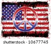 A vector illustration of the American flag and peace symbol with grunge effects. Separate layers for easy editing. - stock vector