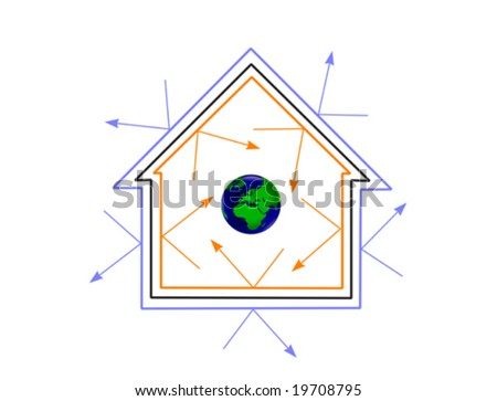 A vector illustration of the world protected by an energy efficient house - stock vector