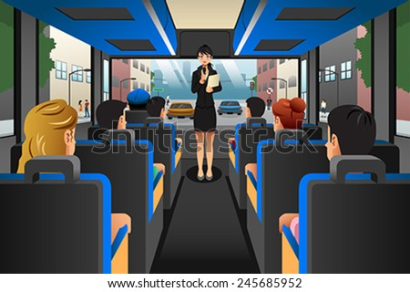 A vector illustration of Tour guide talking to tourists in a tour bus - stock vector