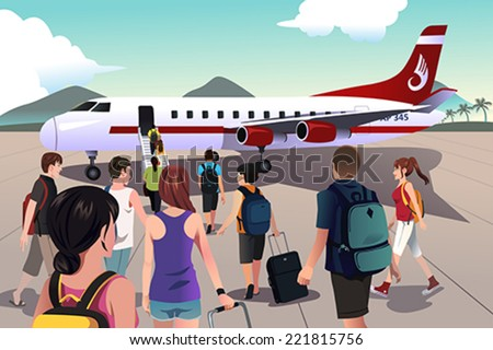 A vector illustration of tourists boarding on a plane - stock vector