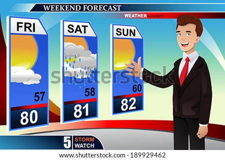 A vector illustration of TV weather news reporter at work - stock vector