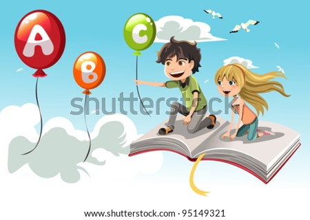 A vector illustration of two kids learning alphabet - stock vector