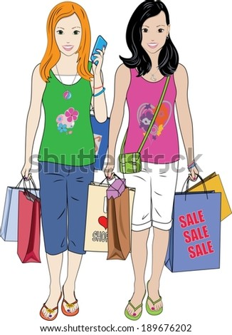 A vector illustration of two pretty young girls walking carrying shopping bags, a purse and a phone. - stock vector