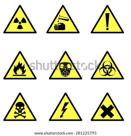 Vector Illustration Various Hazard Icon Signs Stock Vector 281225795
