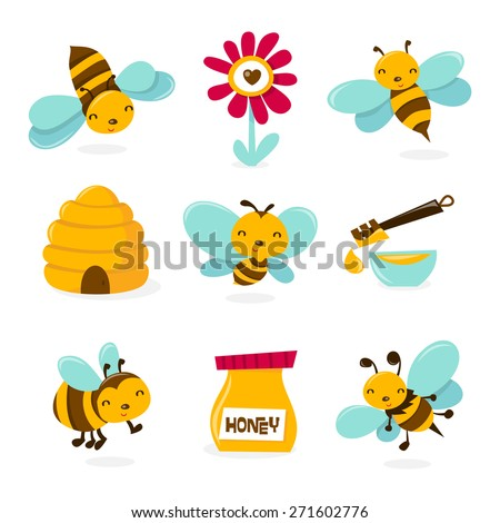 A vector illustration of various honey bee theme characters and icons.  - stock vector