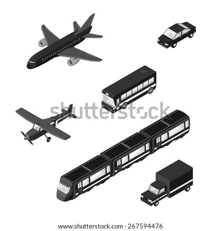 A vector illustration of various vehicular transport Icons. Isometric Transport Vehicles. Modern means of transport icons. - stock vector
