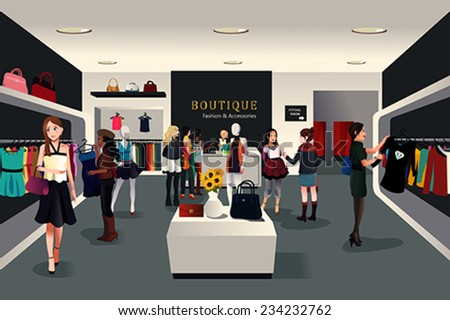A vector illustration of view inside a trendy clothing store - stock vector