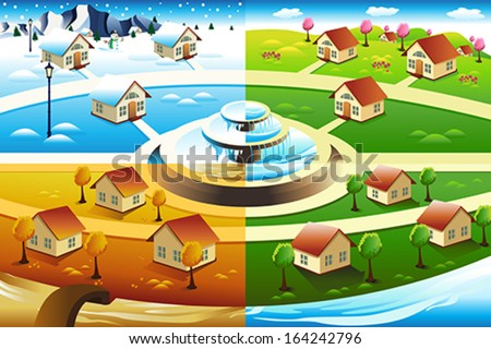 A vector illustration of village in four season