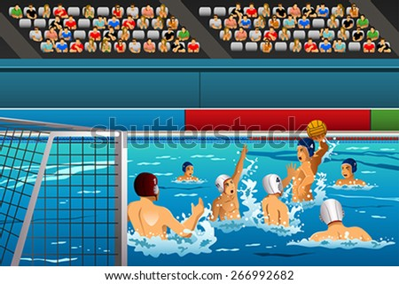 A vector illustration of water polo athletes in a match for sport competition series - stock vector