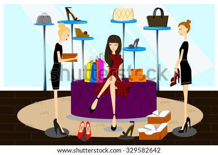 A vector illustration of women shopping for shoes in a shoes store - stock vector