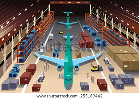 A vector illustration of workers in an airplane factory - stock vector