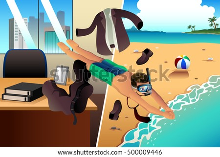 A vector illustration of Working and Vacation Concept