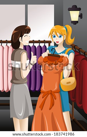 A vector illustration of young girl buying dress at store - stock vector