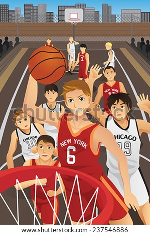 A vector illustration of young men playing basketball in the inner city - stock vector