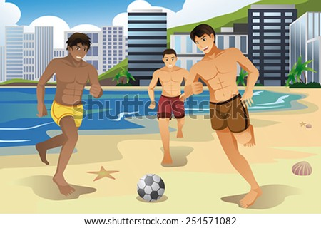 A vector illustration of young men playing soccer on the beach - stock vector