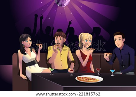 A vector illustration of young people eating pizza in a party at a club - stock vector