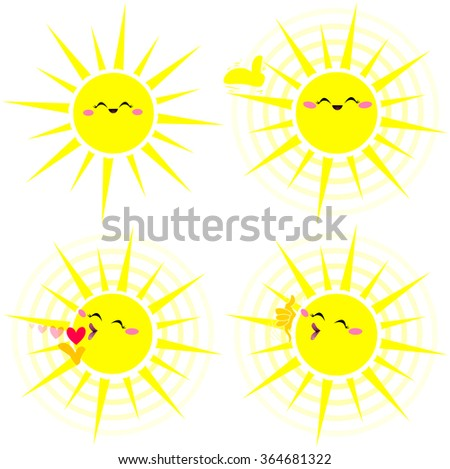A vector illustration pack of a shiny happy yellow sun in various poses. - stock vector